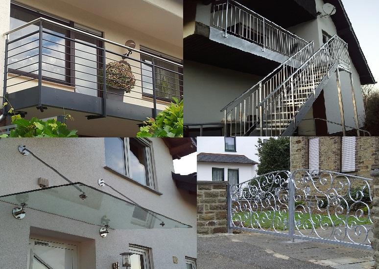 Schmiedearbeit Übersicht Geländer/Überdachungen/Tore Schlosserei Radermacher